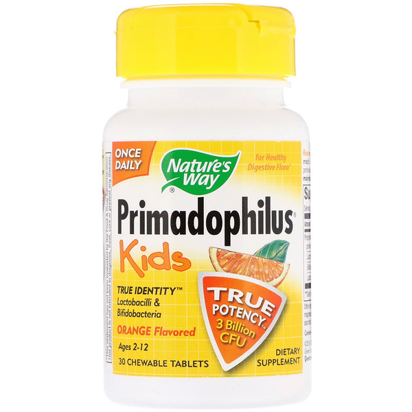 Nature's Way, Primadophilus, Kids, Orange, 3 Billion CFU, 30 Chewable Tablets
