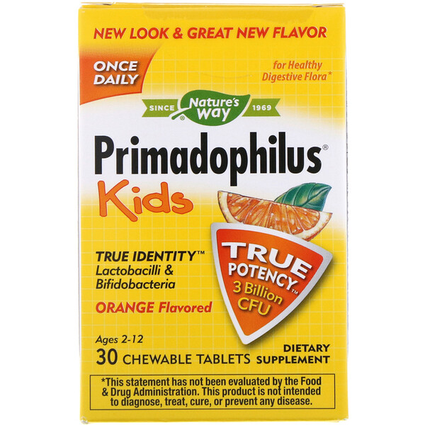 Nature's Way, Primadophilus, Kids, Age 2-12, Orange Flavored, 3 Billion CFU, 30 Chewable Tablets