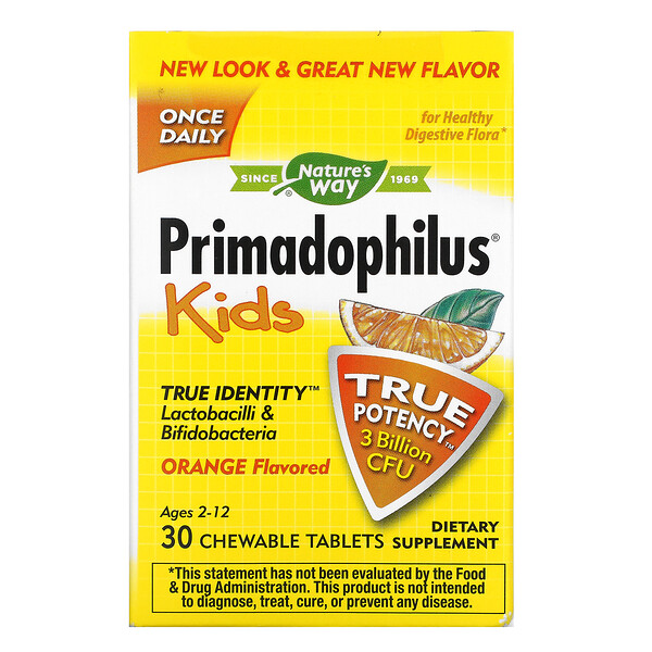Primadophilus® 兒童,2-12 歲,專用咀嚼片,香橙味,30 億 CFU,30 片裝
