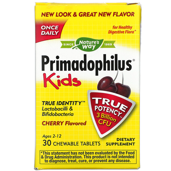 Primadophilus, Kids, Age 2-12, Cherry Flavored, 3 Billion CFU, 30 Chewable Tablets