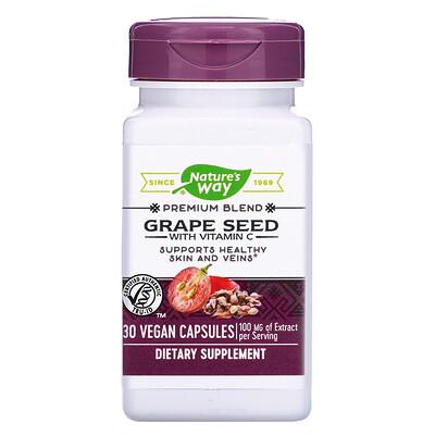 Фото - Grape Seed with Vitamin C, 100 mg, 30 Vegan Capsules grapefruit seed 250 mg 60 vegan capsules