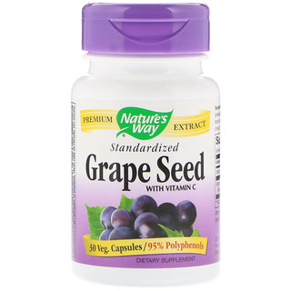 Nature's Way, Grape Seed with Vitamin C, Standardized, 30 Veg. Capsules