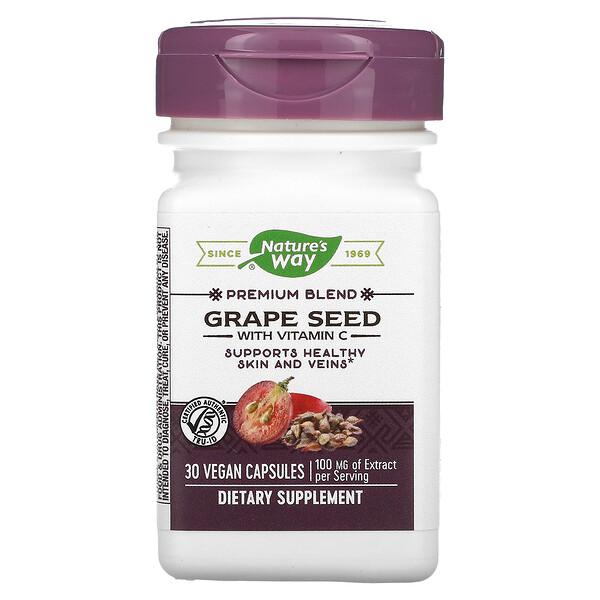Nature's Way, Premium Blend, Grape Seed with Vitamin C, 100 mg, 30 Vegan Capsules