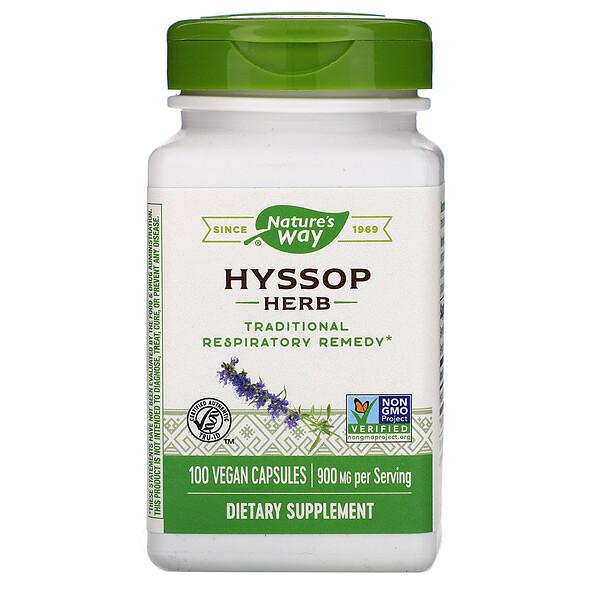 Hyssop Herb, 900 mg, 100 Vegan Capsules