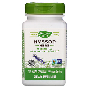 Натурес Вэй, Hyssop Herb, 900 mg, 100 Vegan Capsules отзывы покупателей