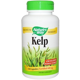 Nature's Way, Kelp, 600 mg, 180 cápsulas vegetarianas