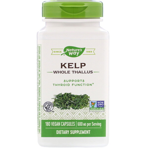 Nature's Way, Kelp, Whole Thallus, 600 mg, 180 Vegan Capsules