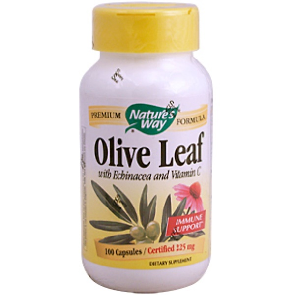 Nature's Way, Olive Leaf, with Echinacea & Vitamin C, 515 mg, 100 Capsules (Discontinued Item)