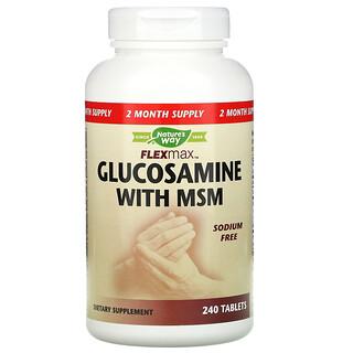 Nature's Way, FlexMax, с глюкозамином и МСМ без натрия, 240таблеток