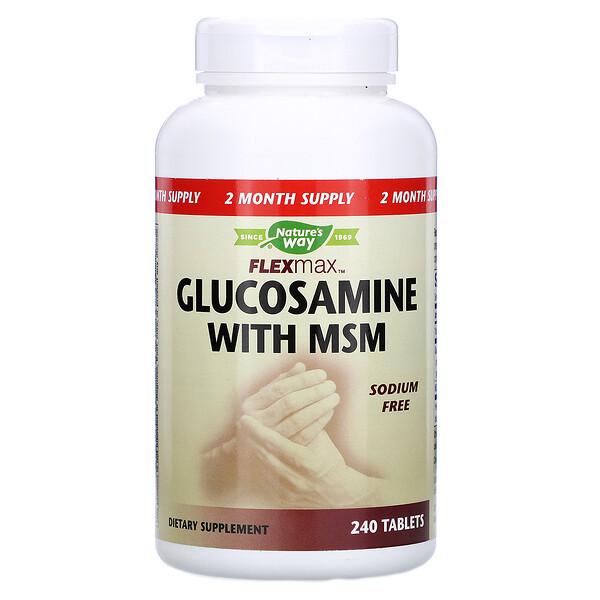 フレックスマックス、 グルコサミンとMSM、 ナトリウムフリー、 240錠