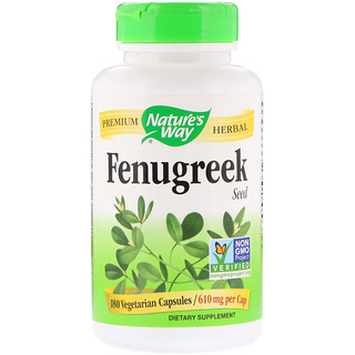Nature's Way, Fenugreek Seed、610 mg、植物性カプセル 180粒