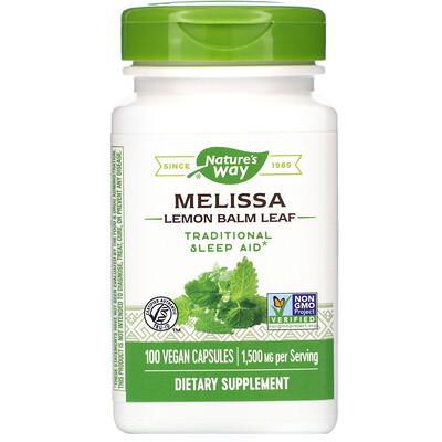 Фото - Melissa, Lemon Balm Leaf, 1,500 mg, 100 Vegan Capsules peppermint leaf 700 mg 100 vegan capsules