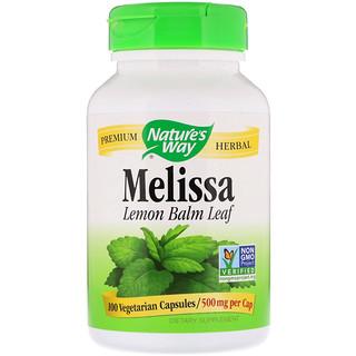 Nature's Way, メリッサ、レモンバームリーフ、500 mg、植物性カプセル 100粒