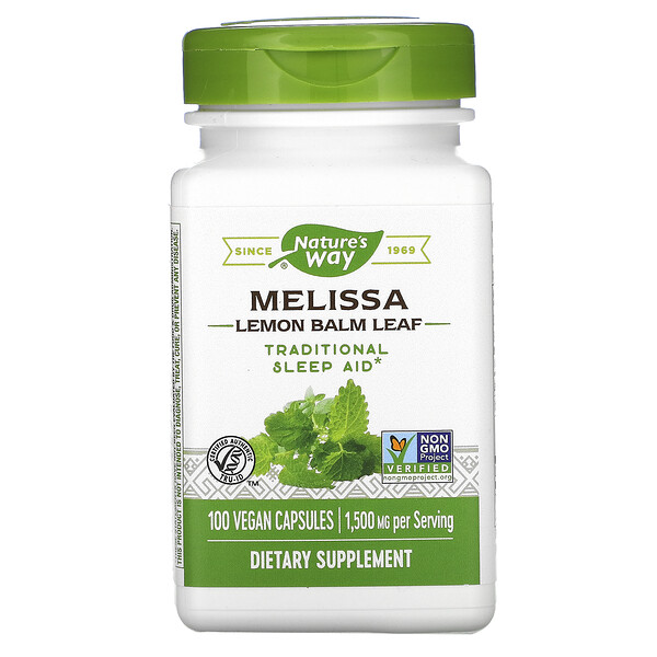 Melissa, Lemon Balm Leaf, 1,500 mg, 100 Vegan Capsules