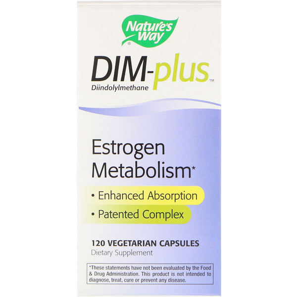 Nature's Way, DIM-plus, метаболизм эстрогенов, 120 вегетарианских капсул