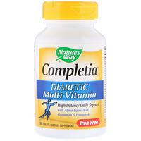 Completia, Диабетические витамины, без железа, 90 таблеток - фото