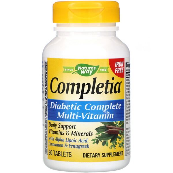 Completia, Diabetic Complete Multi-Vitamin, Iron Free, 90 Tablets