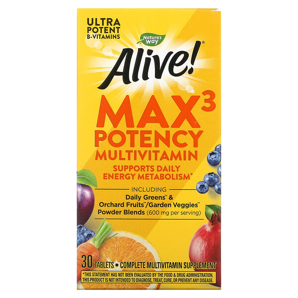 Nature's Way, Alive! Max3 Daily, Potency Multivitamin, 30 Tablets