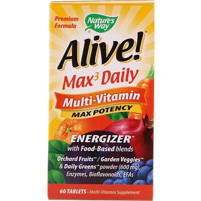 Купить Nature's Way Alive! Max3 Daily, мультивитамины, 60таблеток