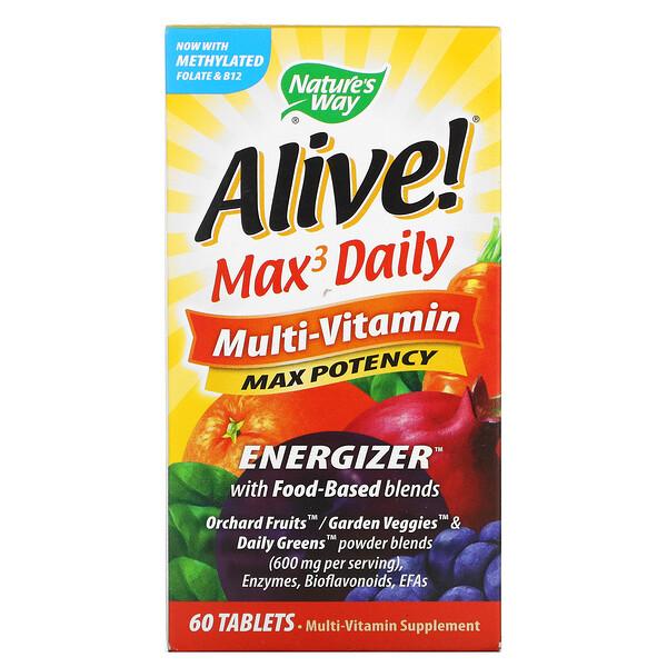 Alive! Max3 Daily, мультивитамины, 60таблеток