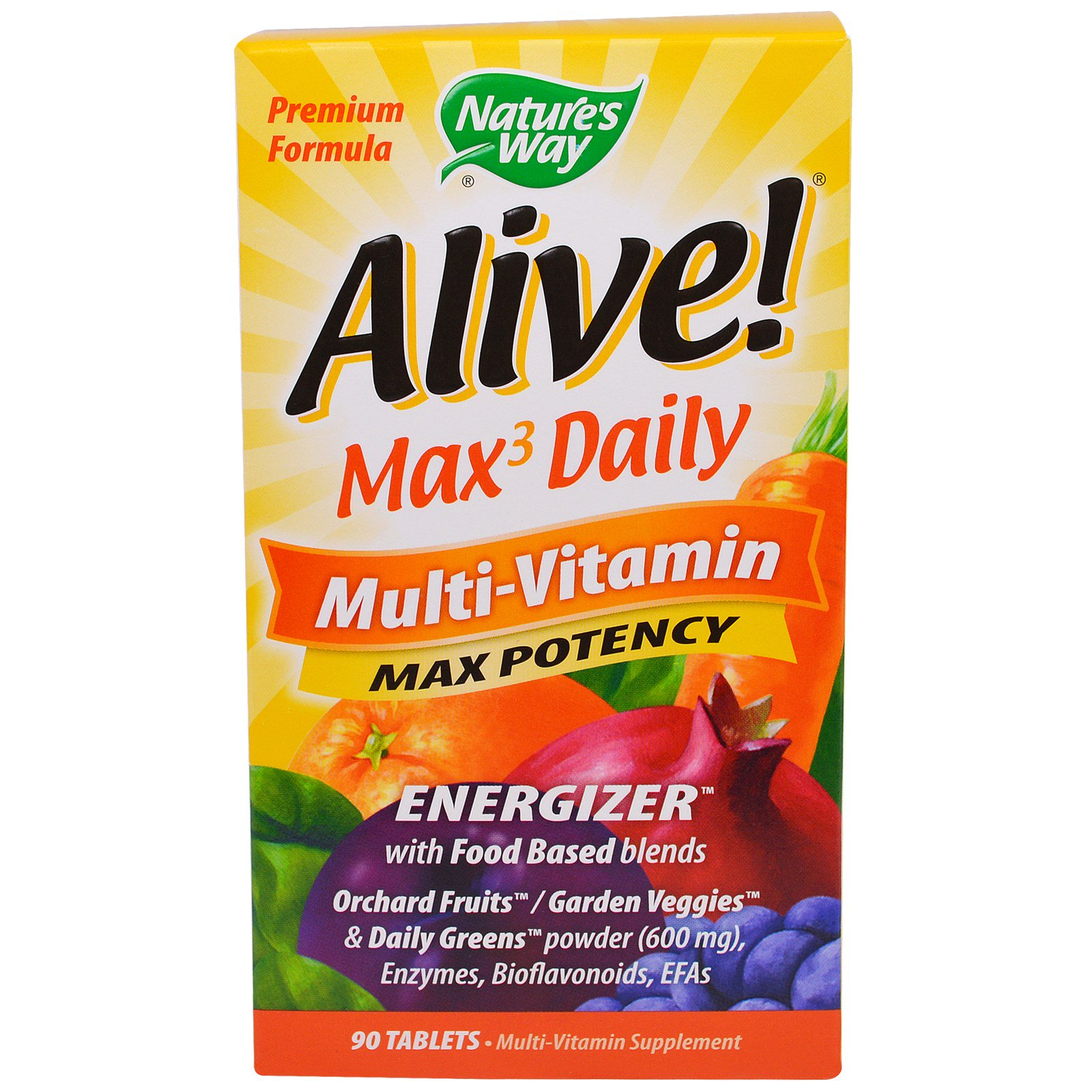Nature's Way, Alive!, Max3 Daily, мультивитаминный комплекс, 90 таблеток