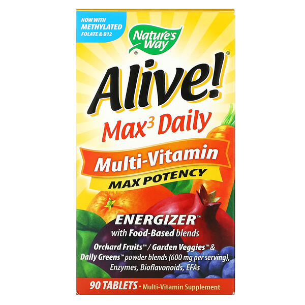 Nature's Way, Alive! Max3 Daily, מולטי ויטמינים, 90 טבליות