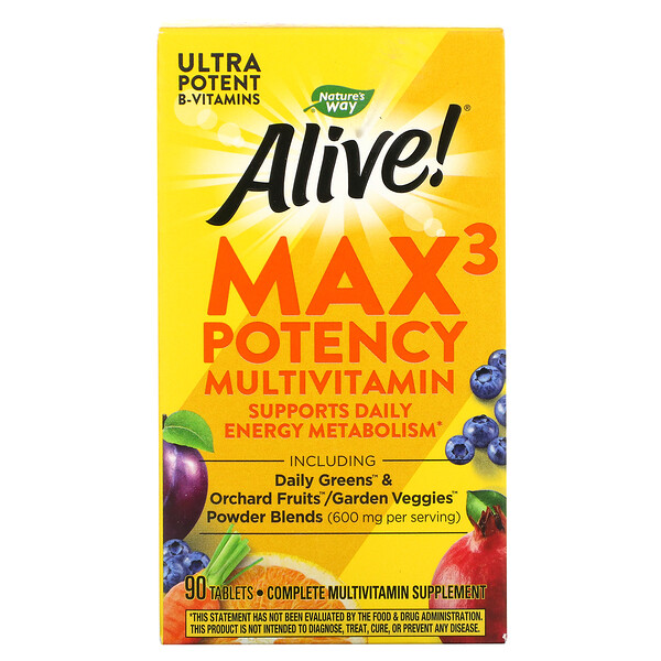 Nature's Way, Alive! Max3 Potency, Multivitamin, 90 Tablets