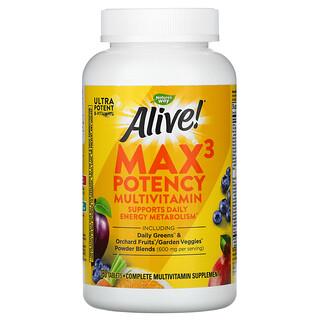 Nature's Way, Alive!, Suplemento multivitamínico de potenciaMax3, 180comprimidos
