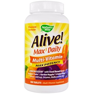 Nature's Way, Alive! Max3 Daily, quotidien, multi-vitamines, 180 comprimés