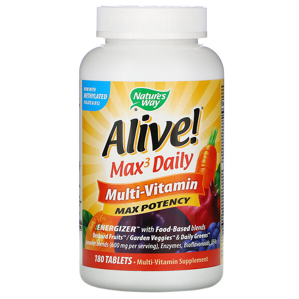Nature's Way, Alive! Max3 Daily, Multivitamina diaria, 180 tabletas
