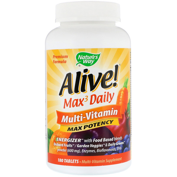 Alive! Max3 Daily, Multivitamina diaria, 180 tabletas