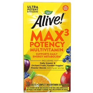 Nature's Way, Alive!(アライブ!)マックス3デイリー、マルチビタミン、鉄無添加、タブレット30粒