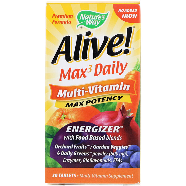 Alive! Max3 Daily, Multi-Vitamin, No Added Iron, 30 Tablets