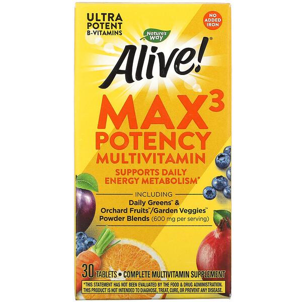 Alive! Max3 Potency, мультивитамины повышенной эффективности, без добавления железа, 30таблеток
