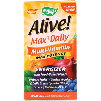 Nature's Way Alive! Max3 Daily, Multi-Vitamin, No Added Iron, 60 Tablets