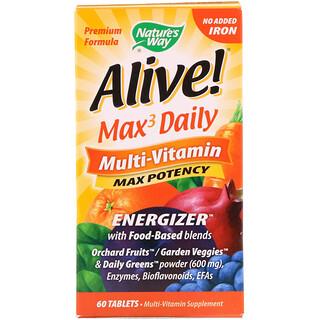 Nature's Way, Alive! Max3 데일리 멀티 비타민, 철분 불포함, 60 태블릿