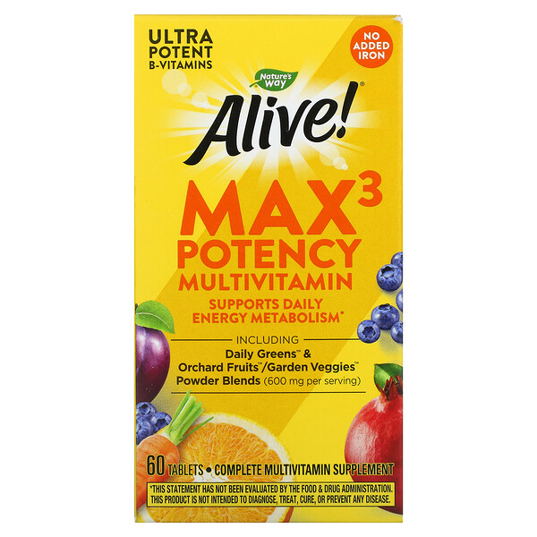 Alive! Max3 Potency Multivitamin, No Added Iron, 60 Tablets