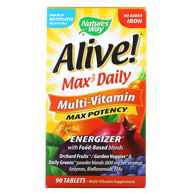 Купить Nature's Way Alive! Max3 Daily, мультивитаминный комплекс, без добавления железа, 90 таблеток