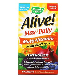 Nature's Way, Alive! Max3 Daily, Multi-Vitamin, No Added Iron, 90 Tablets