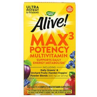 Nature's Way, Alive! Max3Daily, мультивитаминный комплекс, без добавления железа, 90таблеток