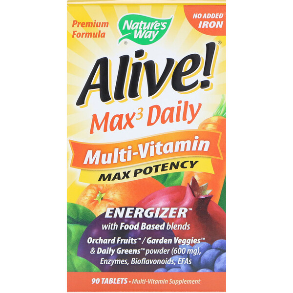 Alive! Max3 Daily, Multi-Vitamin, No Added Iron, 90 Tablets