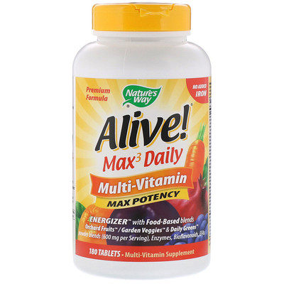 Купить Alive! максимальной эффективности, мультивитамин, без добавления железа, 180таблеток