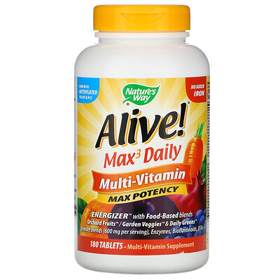 Natures Way Alive! Max3 Daily, мультивитаминный комплекс, без добавления железа, 180таблеток