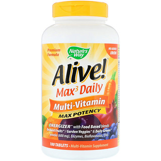 Nature's Way, Alive! Max3 Daily Multi-Vitamin, No Added Iron, 180 Tablets