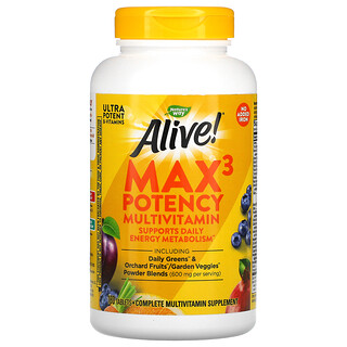 Nature's Way, Alive! Max3 Potency Multivitamin, No Added Iron, 180 Tablets