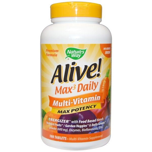 Nature's Way, Alive! Max Potency, Multi-Vitamin, No Added Iron, 180 Tablets