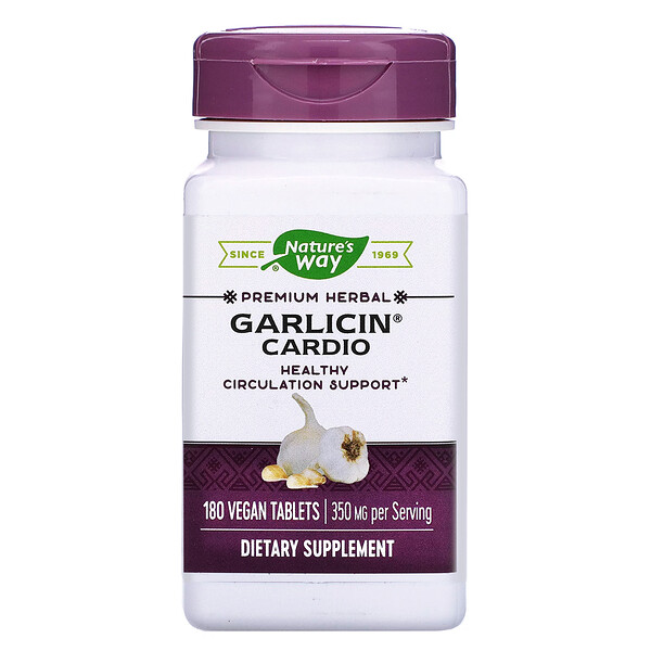 Garlicin Cardio, 350 mg, 180 Vegan Tablets