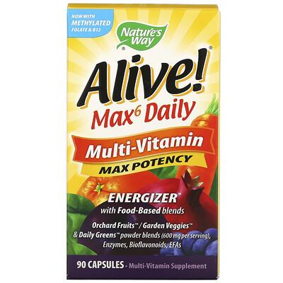 Nature's Way Alive! Max6 Daily, мультивитамины, 90капсул