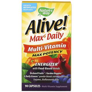 Nature's Way, Alive! Max6 Daily, Multi-Vitamin, 90 Capsules