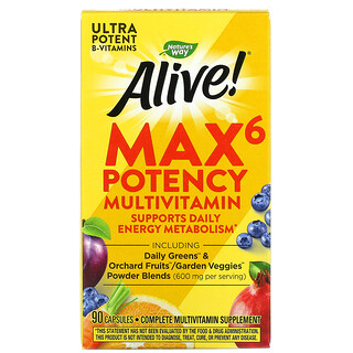 Nature's Way, Alive!Max6Daily, мультивитамины для ежедневного использования, 90капсул